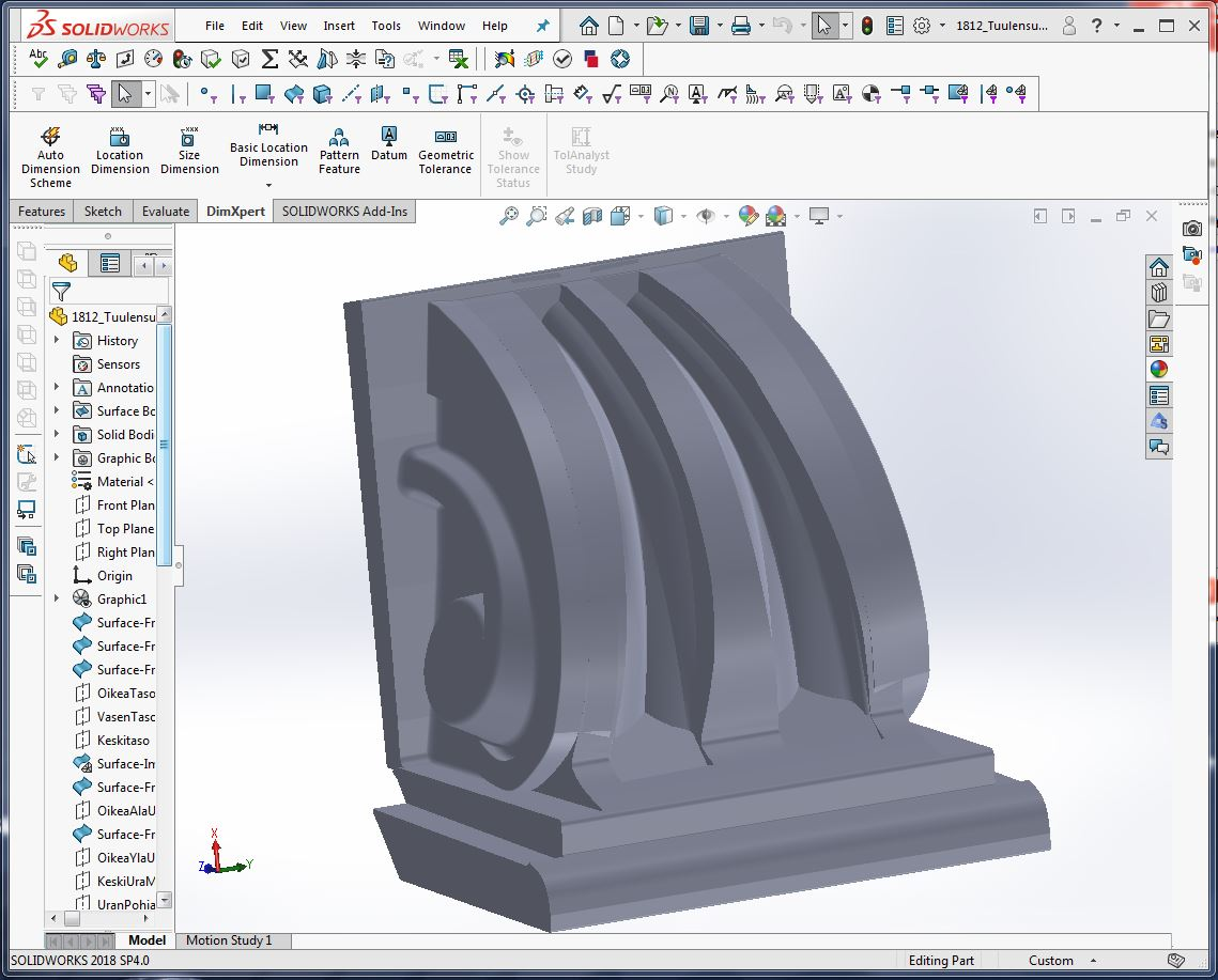 Räystäskoristeen 3D malli