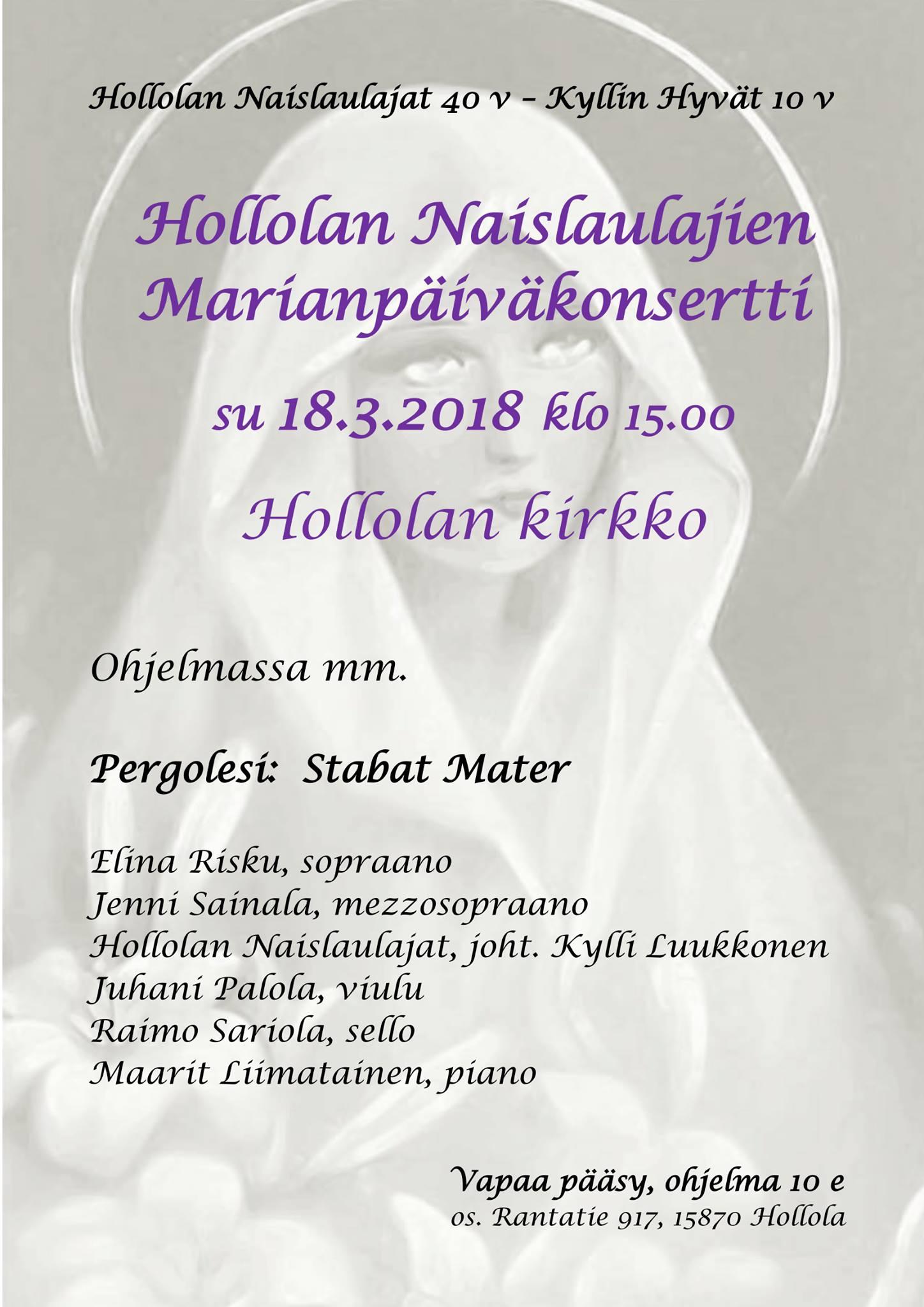 Marianpäiväkonsertti 180318