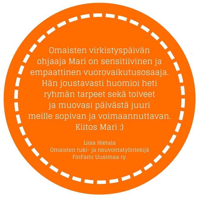 Palautetta Intovaattorin FinFami Uusimaaa ry:ssä toteutetusta koulutuspäivästä