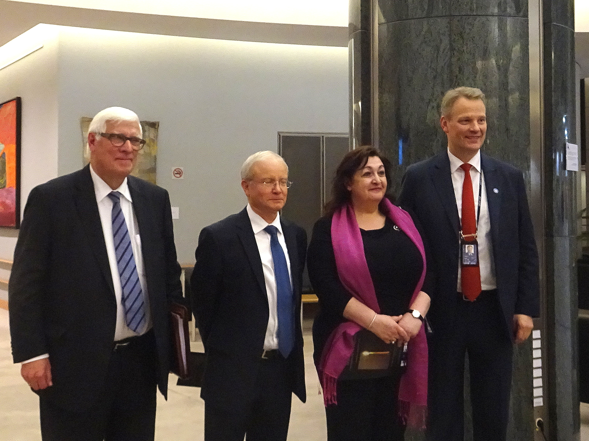 Hosts of the Event MEP Hannu Takkula and MEP Bas Belder, the Ambassador of Israel to EU and NATO Aharon Leshno-Yaar and Inna Rogatchi at the Inaugural Opening of Champions of Humanity project