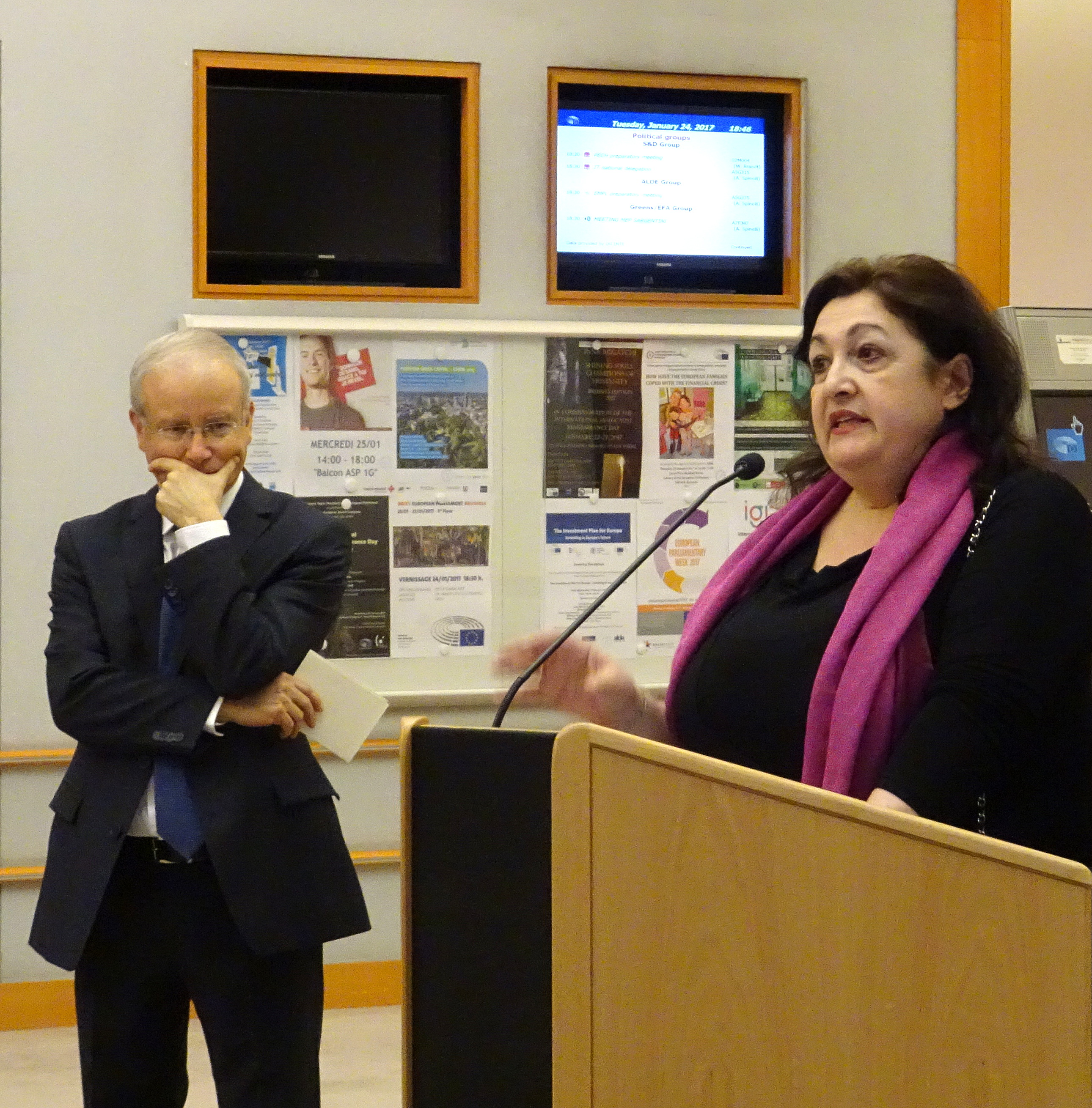 Inna Rogatchi addressing the Opening of her exhibition, with Ambassador of Israel HE Aharon Leshno-Yaar listening