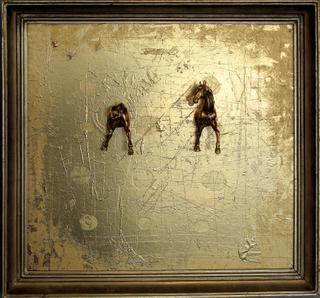 Otherside, 2011, muovieläimet, akryyli, spraymaali, kehys 50x60 cm