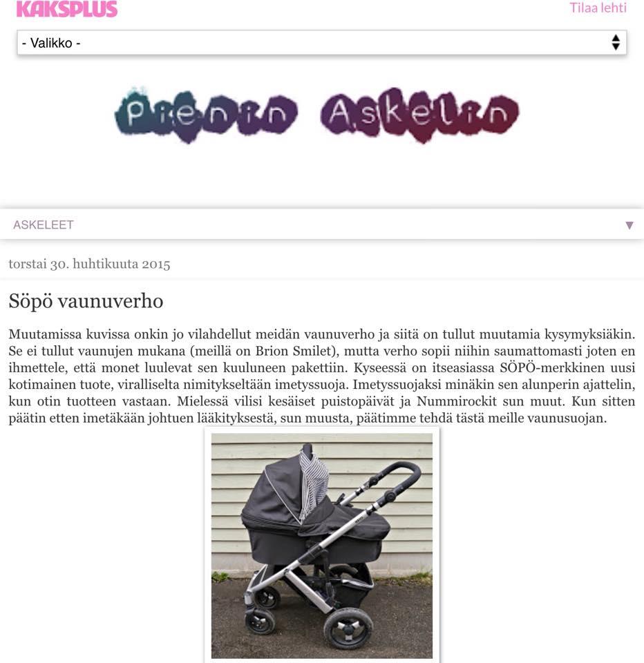 Mirppu kirjoittaa Askelein pienin blogia. Alunperin jo raskausaikana hankittu imetyssuoja saikin aivan toisenlaisen käyttötarkoituksen.