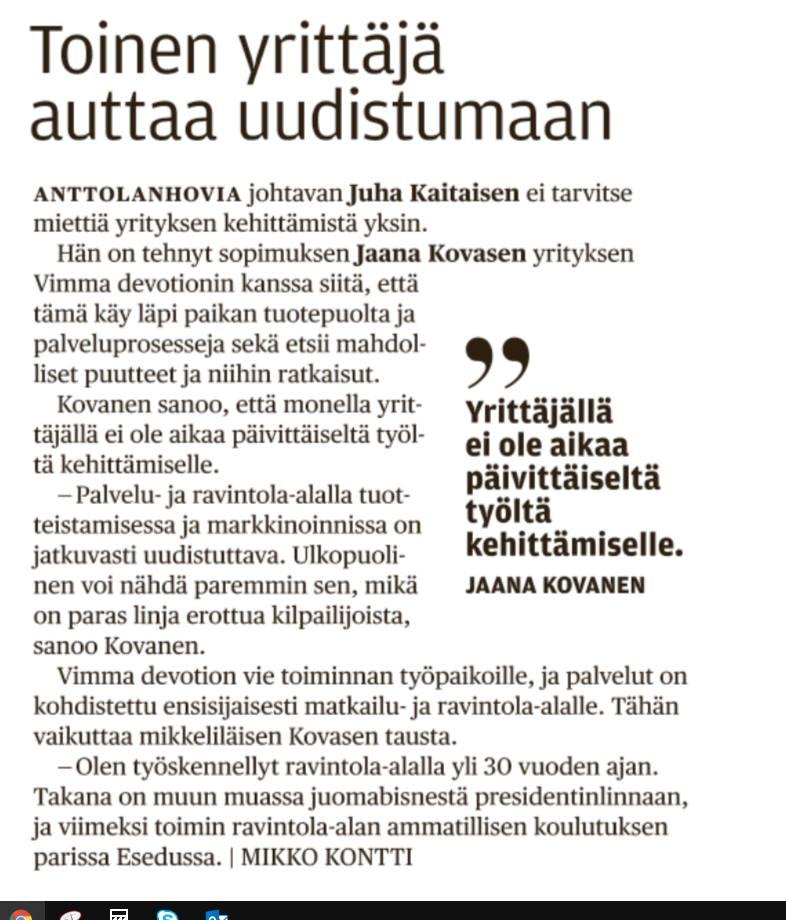 Länsi-Savo kirjoitti 16.4. Vimma devotionin panoksesta Anttolanhovin kehittämisessä