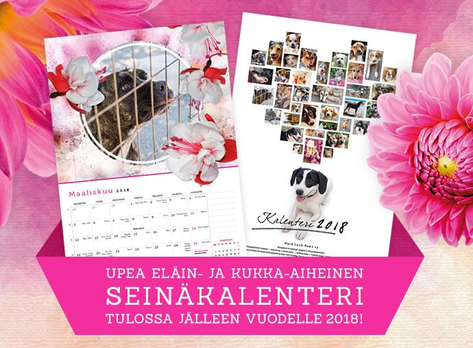 Tilaa kukka- ja eläinaiheinen kissa ja koira kalenteri 2018. Tuotto menee Kreetan kodittomille eläimille, kulkukoirille ja -kissoille. Kuvan koira on Kreetalaiselta koiratarhalta.