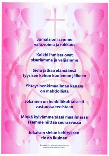 Kuvassa näkyvän spirituaalistisen liikkeen aiemman symbolin 1988-2016 on suunnitellut Georg Lindström. Julisteen graafinen suunnittelu ja toteutus Pertti Kilpelä